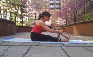 Yoga, forward fold, strap